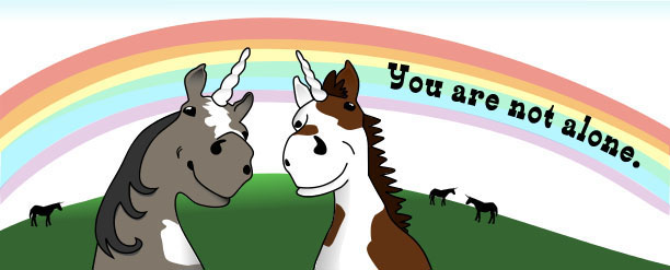 "unicorns with text: ""You are not alone."""