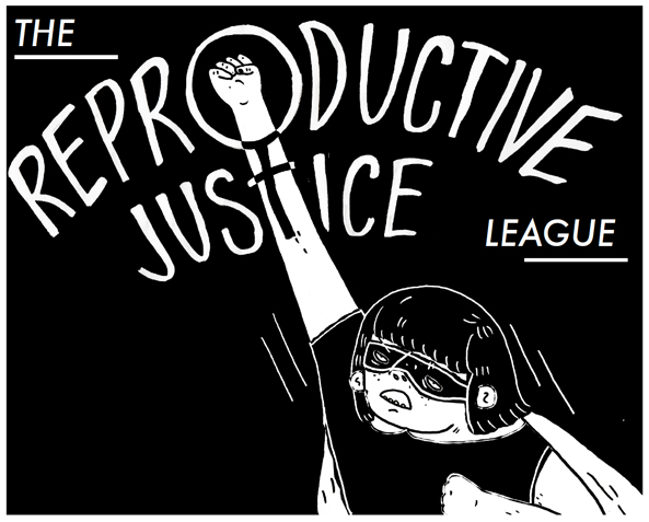 Illustration of superhero with woman symbol
