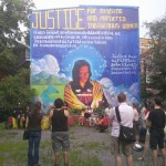 Hoop Dance at Mural Unveiling for missing and murdered native women: mother and daughter dance